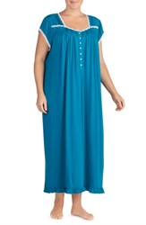 Eileen West Plus Size Long Nightgown Solid Dark Autumn Teal