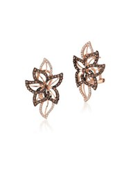 Le Vian Chocolatier Crazy Vanilla And Chocolate Diamond And 14K Strawberry Gold Stud Earrings Rose Gold