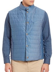Luciano Barbera Quilted Sleeveless Jacket Blue