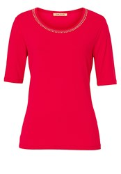 Betty Barclay T Shirt With Embellished Neck Pink