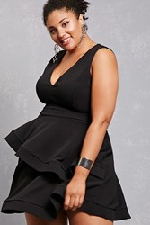 Forever 21 Plus Size Tiered Ruffle Dress Black