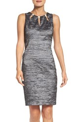 Eliza J Women's Embellished Cutout Taffeta Sheath Dress Charcoal