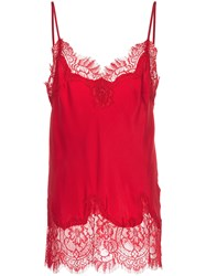 Gold Hawk Lace Insert Top Red