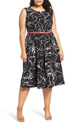 Gabby Skye Plus Size Women's Print Fit And Flare Dress