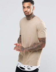 Asos Super Longline T Shirt With Distressed Hem Extender In Beige Silver Mink