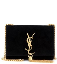 Saint Laurent Classic Small Monogram Suede Shoulder Bag Black