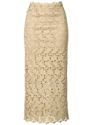 Robert Rodriguez Mid Length Lace Skirt Women Polyester 0 Nude Neutrals