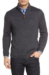 Nordstrom Men's Men's Shop Quarter Zip Mock Neck Sweater Navy Night Melange