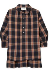 The Great Painter's Smock Plaid Cotton Flannel Shirt Brown