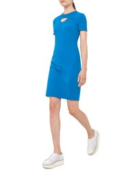Akris Punto Short Sleeve Cutout Jersey Shift Dress Azure