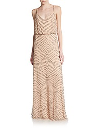 Adrianna Papell Sequined Chiffon Gown Rose
