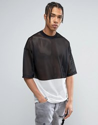 Asos Oversized T Shirt In Monochrome Mesh Fabric With Half Sleeve Black White