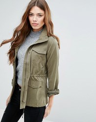 Blend She Marie Lightweight Funnel Neck Jacket Ivy Green