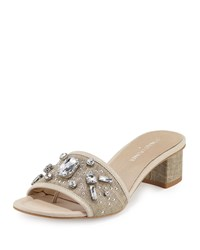 Donald J Pliner Maxx Jeweled Low Heel Slide Sandal Natural Silver Women's