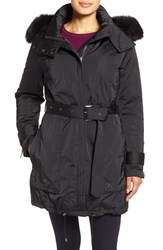 Women's Trina Turk 'Jeri' Belted Down Parka With Genuine Fox Or Coyote Fur Trim Black