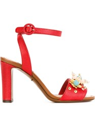 Dolce And Gabbana Flower Embellished Sandals Red