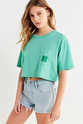 Truly Madly Deeply Shamrock Pocket Cropped Tee Green