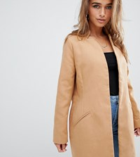Missguided Petite Tailored Formal Coat In Camel Brown