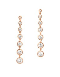 Crislu Cubic Zirconia And 18K Rose Gold Plated Sterling Silver Drop Earrings