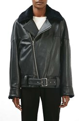 Topshop Women's Boutique Genuine Lamb Fur Collar Leather Jacket