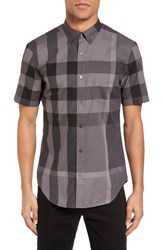 Burberry Men's Brit 'Fred' Trim Fit Short Sleeve Sport Shirt Charcoal