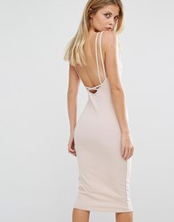 Oh My Love Cross Strap Midi Dress Nude Pink
