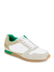 Penguin Colorblock Lace Up Sneakers White Green