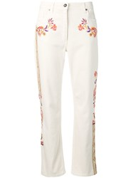 Etro Floral Embroidered Straight Jeans Neutrals