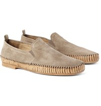 Officine Creative Maurice Shirred Suede Loafers Mushroom