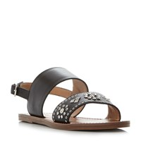 Dune Luma Wide Fit Stud Strap Flat Sandals Black