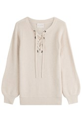 Claudia Schiffer Wool Pullover With Lace Up Front Beige