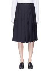 Ms Min Knife Pleat Suiting Skirt Blue