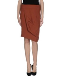 Oblique Knee Length Skirts Brick Red