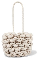 Alienina Julia Woven Cotton Bucket Bag Off White