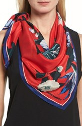 Vince Camuto Women's Tropic Floral Silk Square Scarf Red