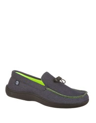 Isotoner Mike Knit Twill Moccasins Navy