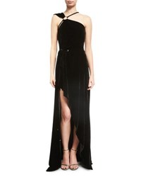 Thierry Mugler One Shoulder Velvet High Low Gown Black
