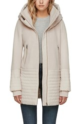 Soia And Kyo Slim Fit Mixed Media Coat Porcelain