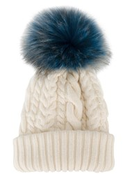 Miu Miu Fluffy Bobble Cable Knit Hat Cashmere Wool Raccoon Dog White
