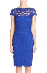 Women's Tadashi Shoji Illusion Yoke Lace Sheath Dress Mystic Blue