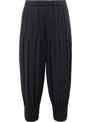 Issey Miyake Pleats Please By Gathered Cuffs Cropped Trousers Black