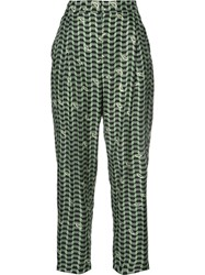 Alena Akhmadullina Geometric Print Trousers Women Silk Viscose 40 Green