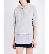 3.1 Phillip Lim Floral Embroidered Cotton Hoody Gry Melange