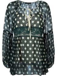 Twin Set Sheer Polka Dot Blouse Green