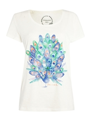Dickins And Jones Top Placement Print Peacock Tee Ivory