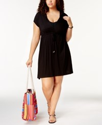 Dotti Plus Size Sunset Brights Hoodie Dress Cover Up Women's Swimsuit Black