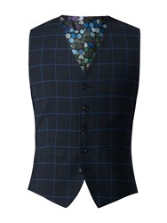Gibson Men's Navy Waistcoat With Blue Check Blue