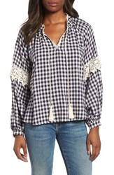 Everleigh Gingham Check Peasant Top Navy White Gingham