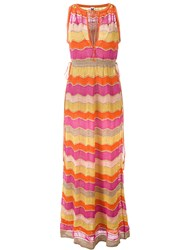 M Missoni Metallic Shift Knitted Dress Yellow Orange