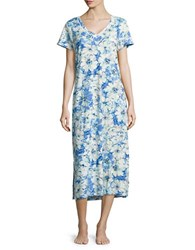 Miss Elaine Short Sleeve Floral Print Night Gown Blue Turq